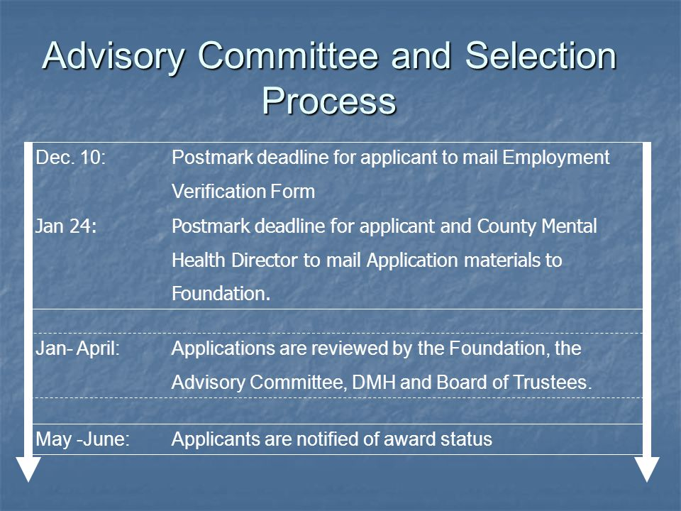 Advisory Committee and Selection Process Dec. 10:Postmark deadline for applicant to mail Employment Verification Form Jan 24:Postmark deadline for app