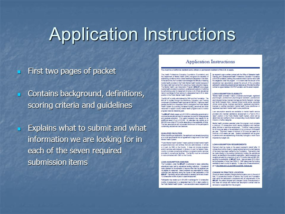 Application Instructions First two pages of packet First two pages of packet Contains background, definitions, Contains background, definitions, scori