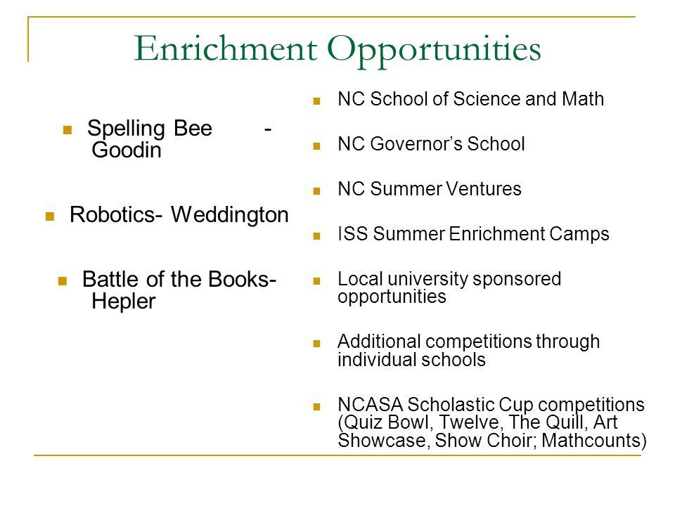 Enrichment Opportunities Spelling Bee- Goodin Robotics- Weddington Battle of the Books- Hepler NC School of Science and Math NC Governor's School NC S