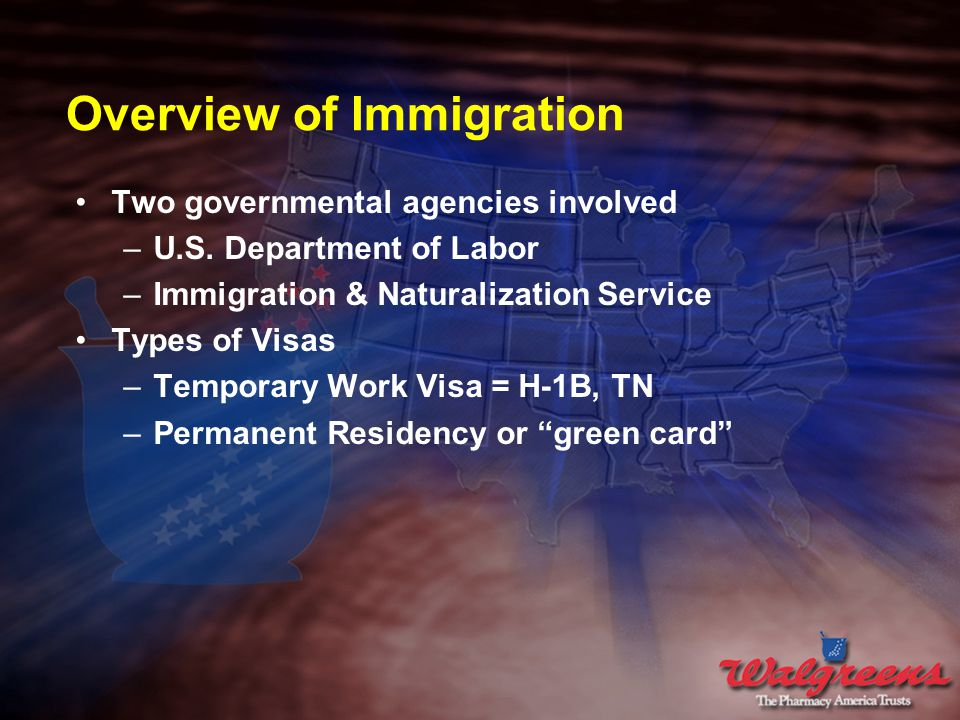 Overview of Immigration Two governmental agencies involved –U.S.