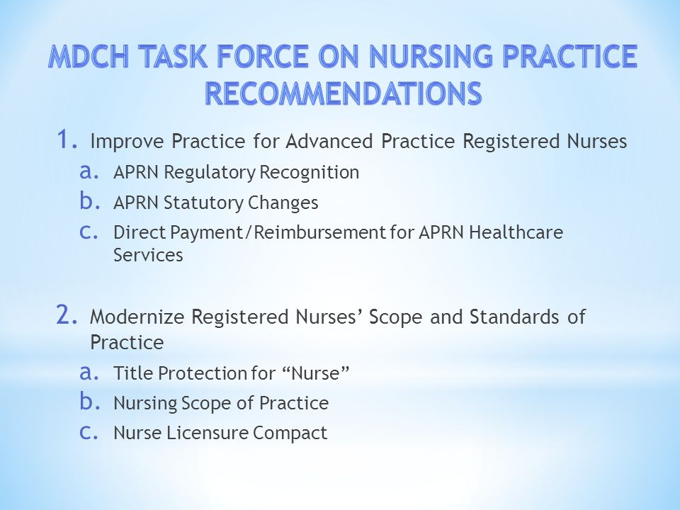 1. Improve Practice for Advanced Practice Registered Nurses a.