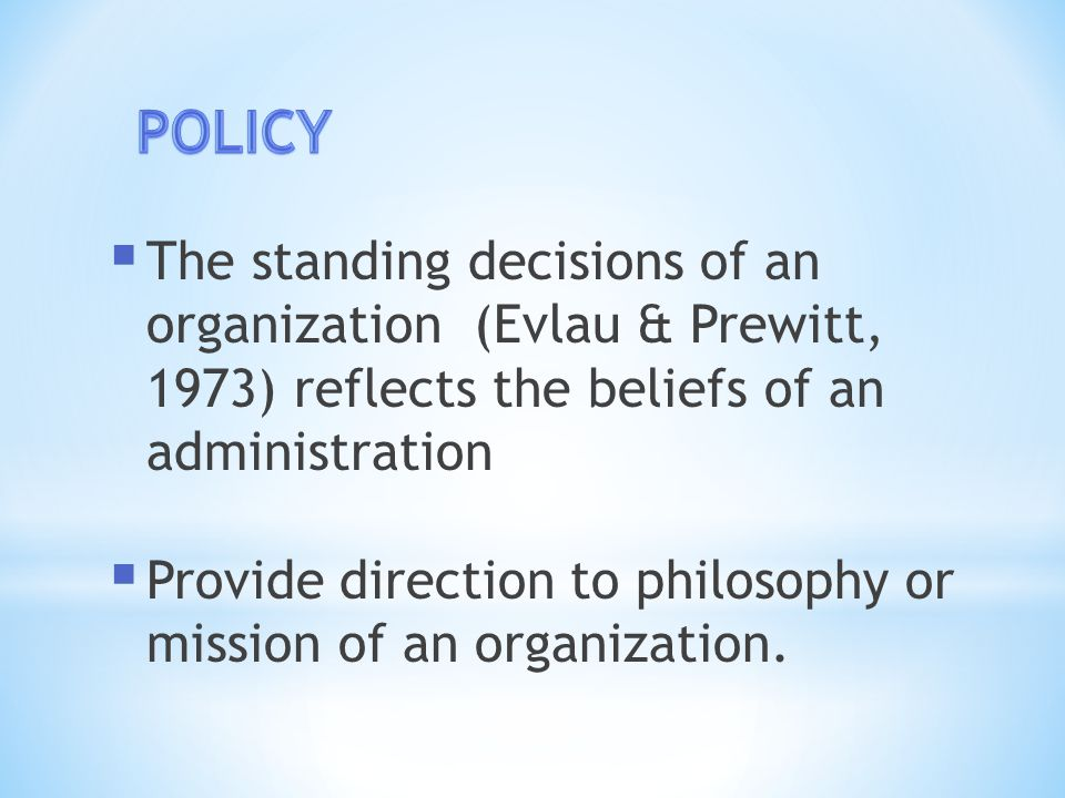  One stage of the policy making process.