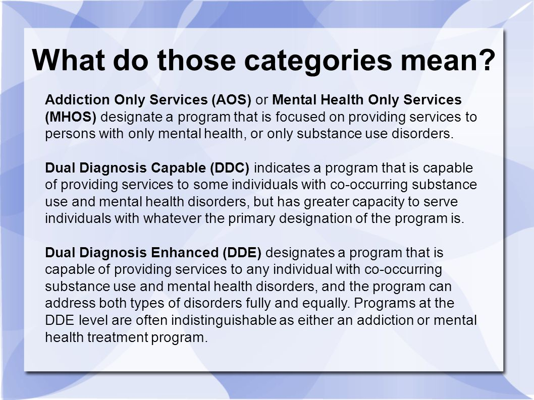 Addiction Only Services (AOS) or Mental Health Only Services (MHOS) designate a program that is focused on providing services to persons with only men