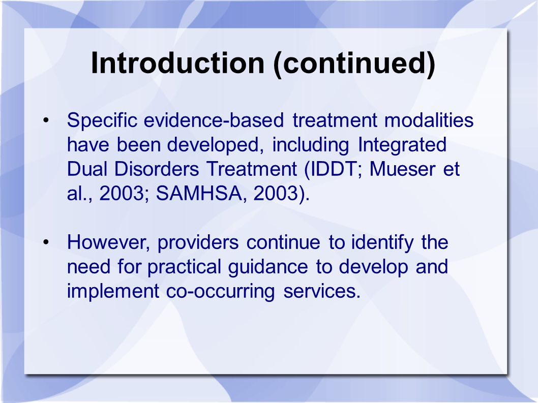 The DDCMHT index was first developed in 2004, as a parallel instrument to the DDCAT (Dual Diagnosis Capability in Addictions Treatment) Index developed in 2003.