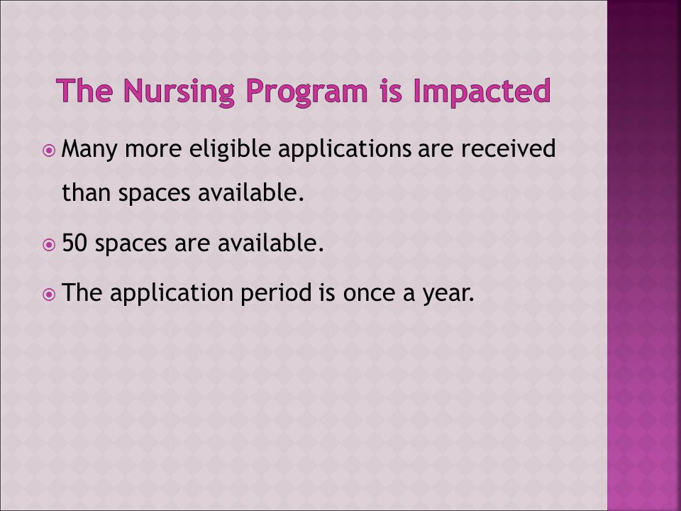  Many more eligible applications are received than spaces available.