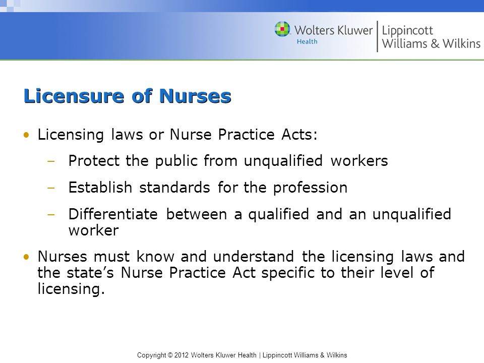 Copyright © 2012 Wolters Kluwer Health | Lippincott Williams & Wilkins Licensure of Nurses Licensing laws or Nurse Practice Acts: –Protect the public