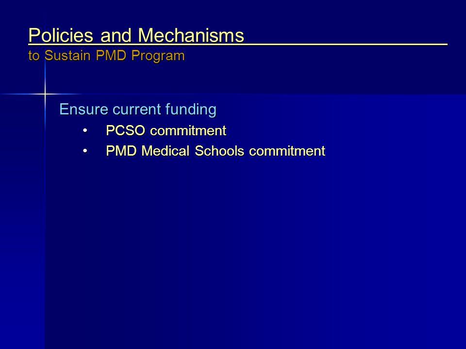 Ensure current funding PCSO commitmentPCSO commitment PMD Medical Schools commitmentPMD Medical Schools commitment Policies and Mechanisms to Sustain