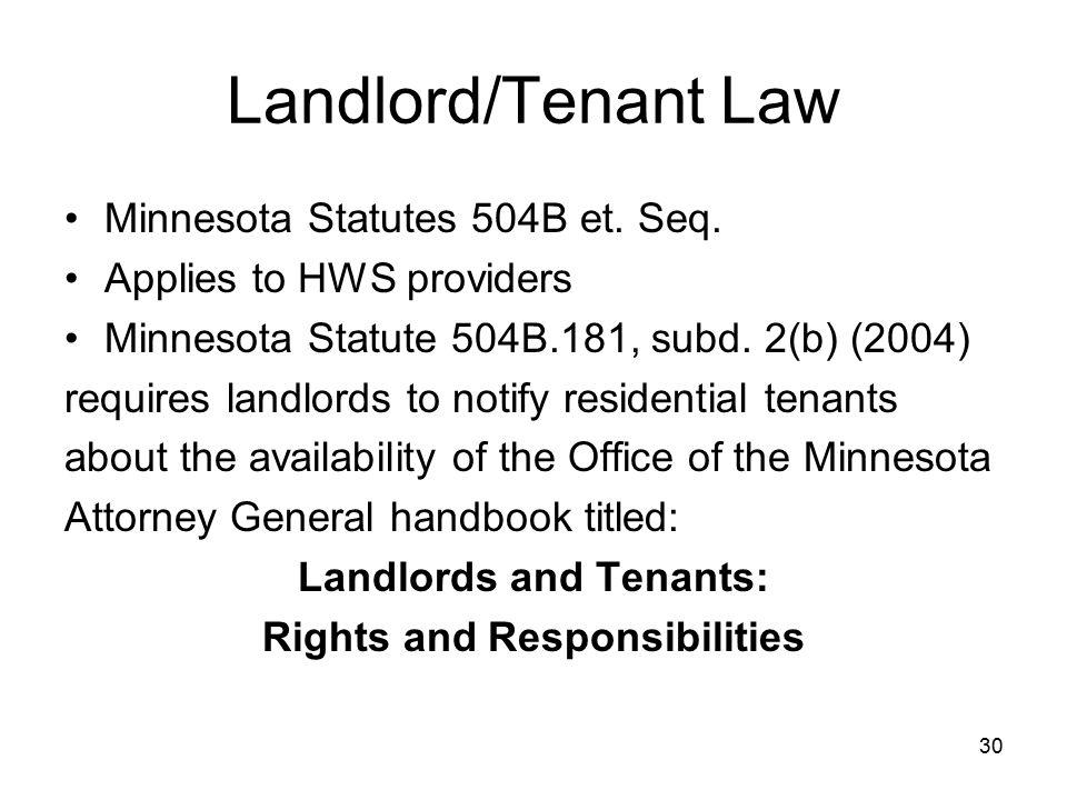 30 Landlord/Tenant Law Minnesota Statutes 504B et.