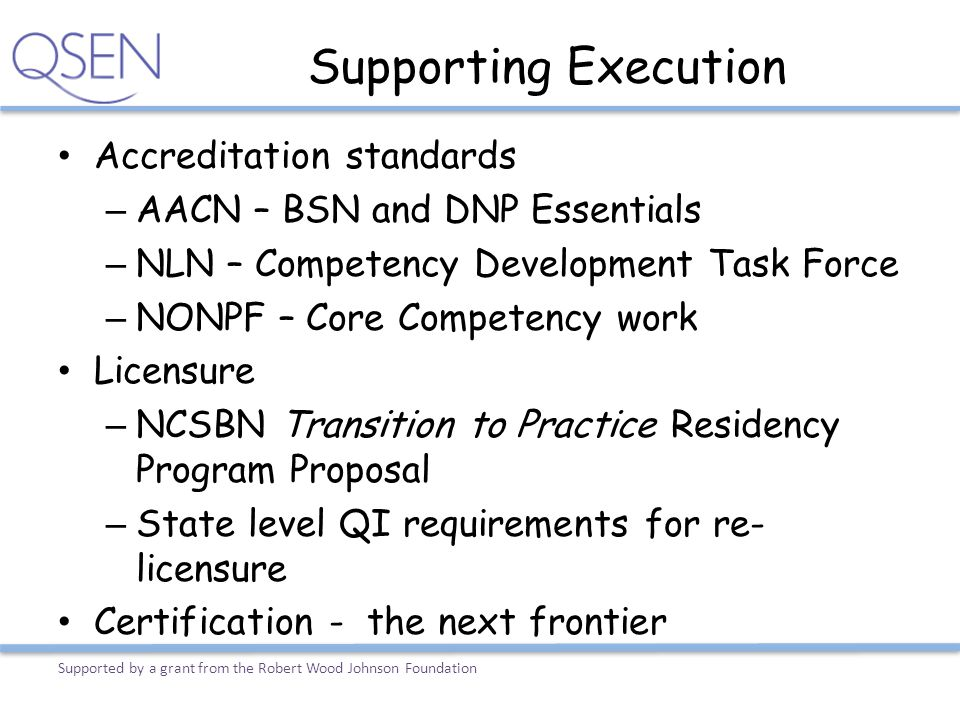 Supporting Execution Accreditation standards – AACN – BSN and DNP Essentials – NLN – Competency Development Task Force – NONPF – Core Competency work