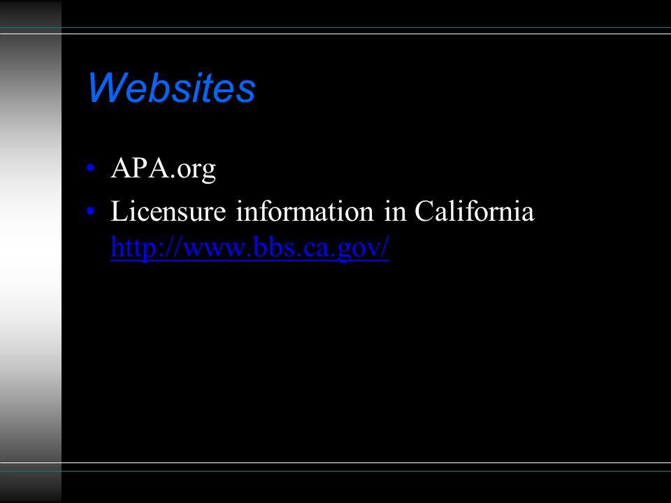 Websites APA.org Licensure information in California http://www.bbs.ca.gov/ http://www.bbs.ca.gov/