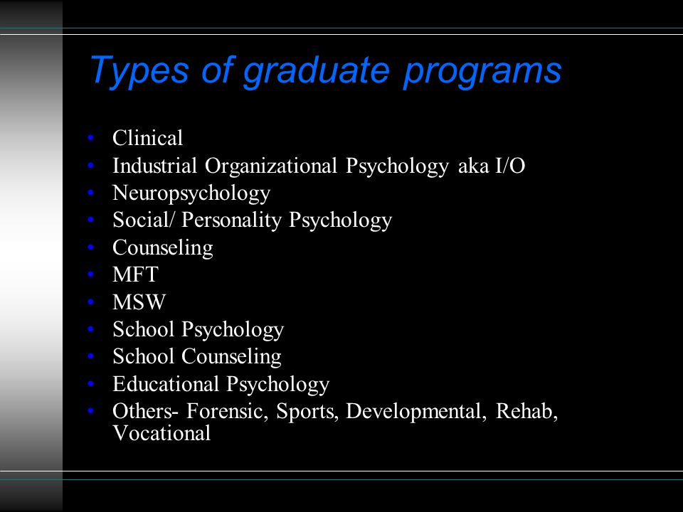 Types of graduate programs Clinical Industrial Organizational Psychology aka I/O Neuropsychology Social/ Personality Psychology Counseling MFT MSW School Psychology School Counseling Educational Psychology Others- Forensic, Sports, Developmental, Rehab, Vocational