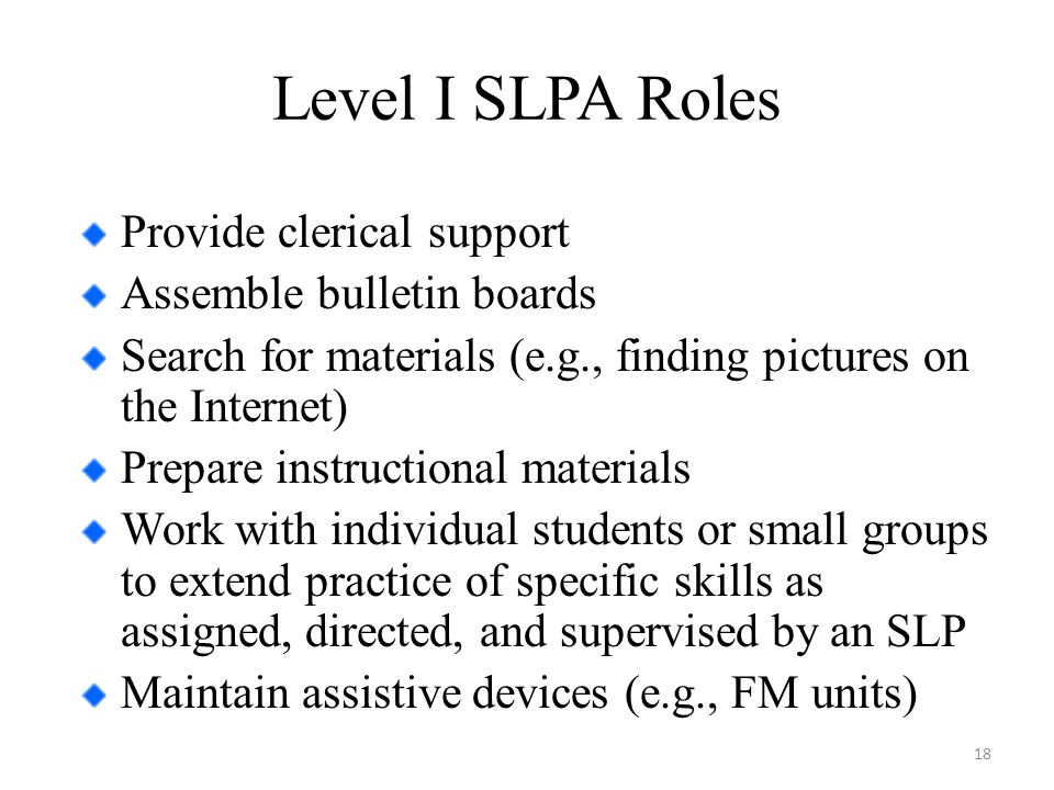 Level I SLPA Roles Provide clerical support Assemble bulletin boards Search for materials (e.g., finding pictures on the Internet) Prepare instructional materials Work with individual students or small groups to extend practice of specific skills as assigned, directed, and supervised by an SLP Maintain assistive devices (e.g., FM units) 18