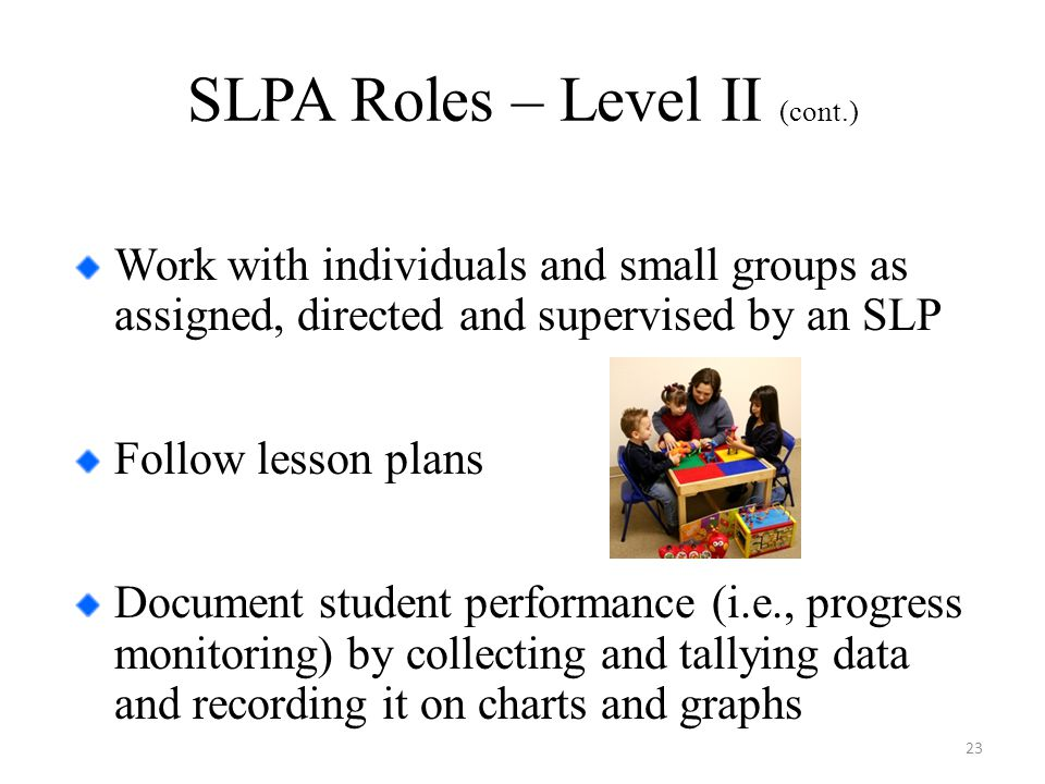 SLPA Roles – Level II (cont.) Work with individuals and small groups as assigned, directed and supervised by an SLP Follow lesson plans Document student performance (i.e., progress monitoring) by collecting and tallying data and recording it on charts and graphs 23