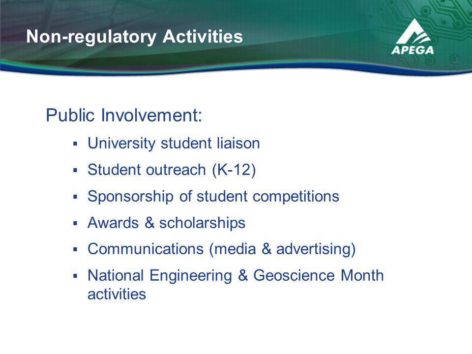 Public Involvement:  University student liaison  Student outreach (K-12)  Sponsorship of student competitions  Awards & scholarships  Communicati