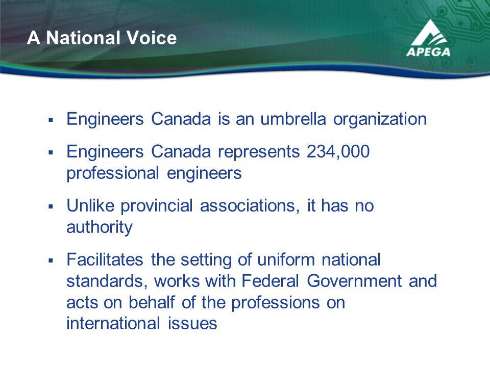  Engineers Canada is an umbrella organization  Engineers Canada represents 234,000 professional engineers  Unlike provincial associations, it has n