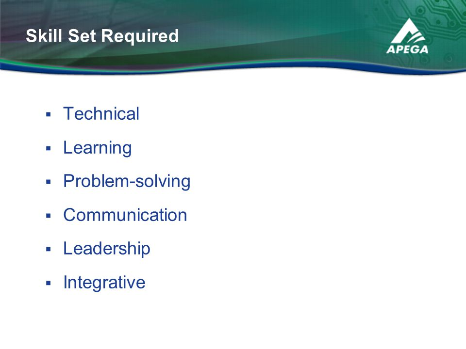  Technical  Learning  Problem-solving  Communication  Leadership  Integrative Skill Set Required