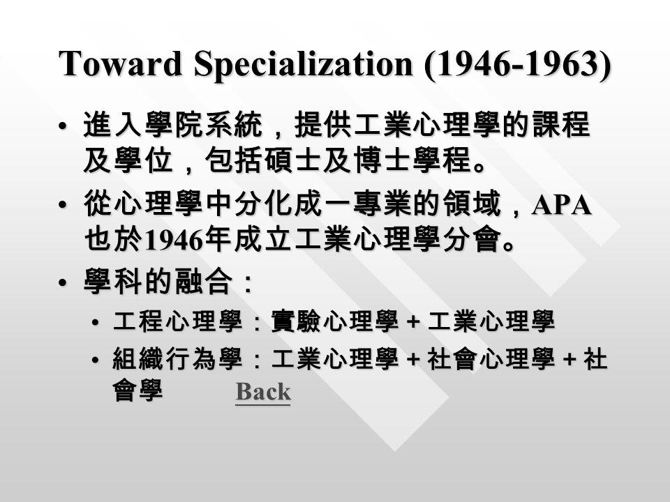 Toward Specialization (1946-1963) 進入學院系統,提供工業心理學的課程 及學位,包括碩士及博士學程。 進入學院系統,提供工業心理學的課程 及學位,包括碩士及博士學程。 從心理學中分化成一專業的領域, APA 也於 1946 年成立工業心理學分會。 從心理學中分化成一專業的領域, APA 也於 1946 年成立工業心理學分會。 學科的融合: 學科的融合: 工程心理學:實驗心理學+工業心理學 工程心理學:實驗心理學+工業心理學 組織行為學:工業心理學+社會心理學+社 會學 Back 組織行為學:工業心理學+社會心理學+社 會學 BackBack