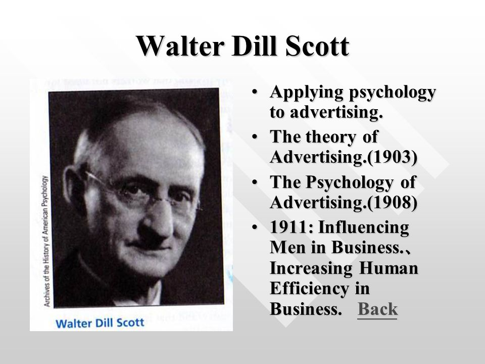 Walter Dill Scott Applying psychology to advertising.