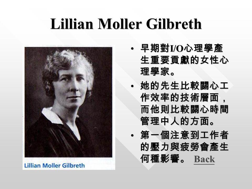 Lillian Moller Gilbreth 早期對 I/O 心理學產 生重要貢獻的女性心 理學家。 她的先生比較關心工 作效率的技術層面, 而他則比較關心時間 管理中人的方面。 第一個注意到工作者 的壓力與疲勞會產生 何種影響。 BackBack