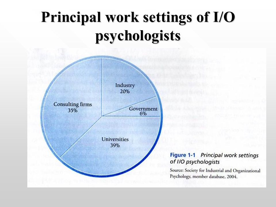 Principal work settings of I/O psychologists