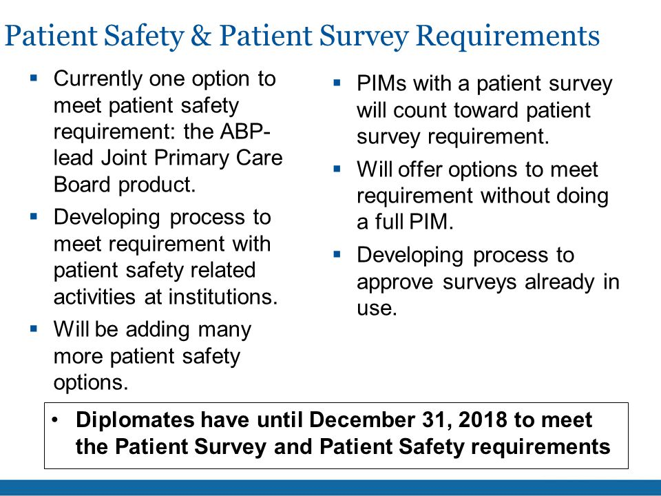 Patient Safety & Patient Survey Requirements  Currently one option to meet patient safety requirement: the ABP- lead Joint Primary Care Board product.