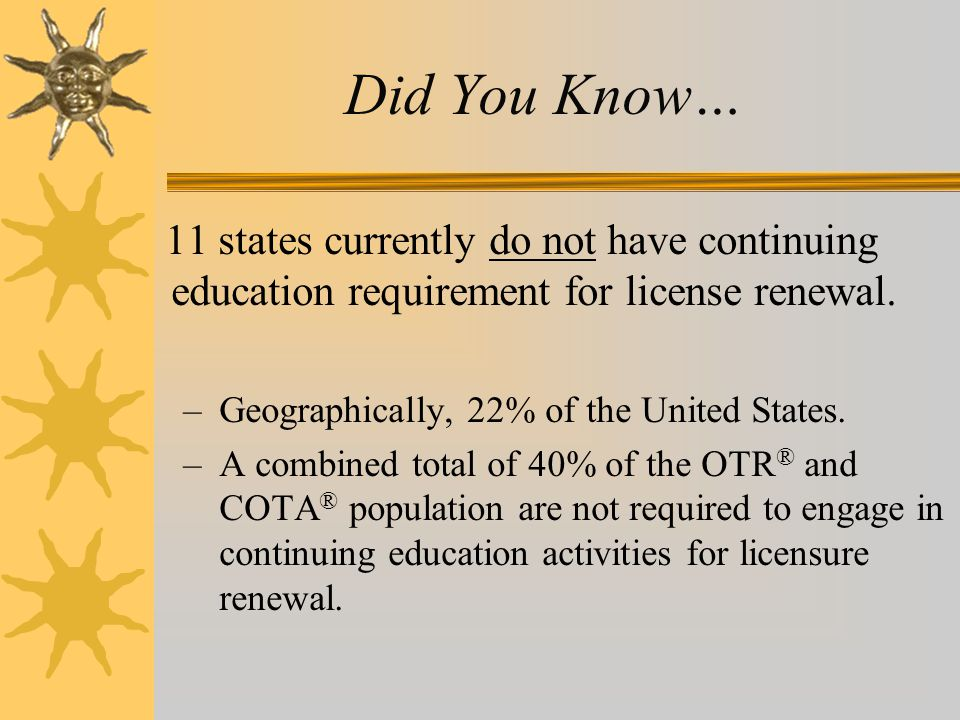 Did You Know… 11 states currently do not have continuing education requirement for license renewal. –Geographically, 22% of the United States. –A comb