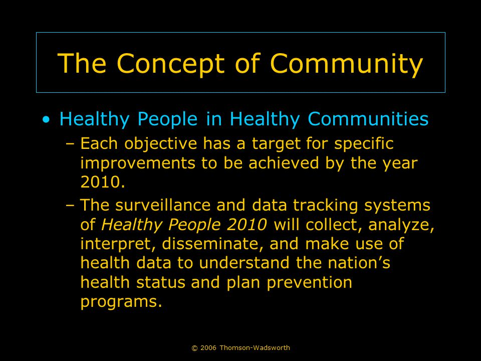 © 2006 Thomson-Wadsworth The Concept of Community Healthy People in Healthy Communities –Each objective has a target for specific improvements to be achieved by the year 2010.