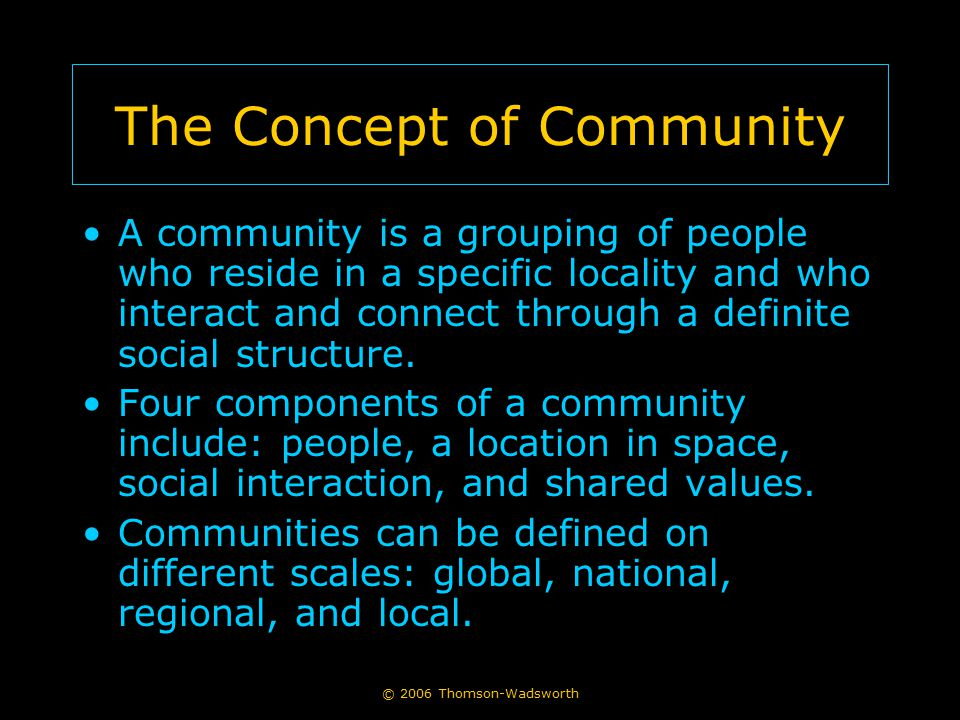 © 2006 Thomson-Wadsworth The Concept of Community A community is a grouping of people who reside in a specific locality and who interact and connect through a definite social structure.
