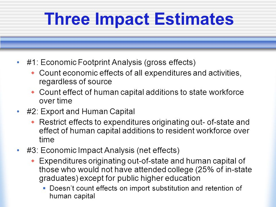Three Impact Estimates #1: Economic Footprint Analysis (gross effects)  Count economic effects of all expenditures and activities, regardless of source  Count effect of human capital additions to state workforce over time #2: Export and Human Capital  Restrict effects to expenditures originating out- of-state and effect of human capital additions to resident workforce over time #3: Economic Impact Analysis (net effects)  Expenditures originating out-of-state and human capital of those who would not have attended college (25% of in-state graduates) except for public higher education  Doesn't count effects on import substitution and retention of human capital