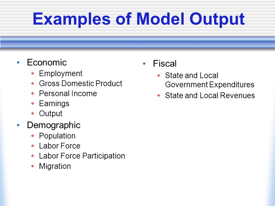 Examples of Model Output Economic  Employment  Gross Domestic Product  Personal Income  Earnings  Output Demographic  Population  Labor Force  Labor Force Participation  Migration Fiscal  State and Local Government Expenditures  State and Local Revenues