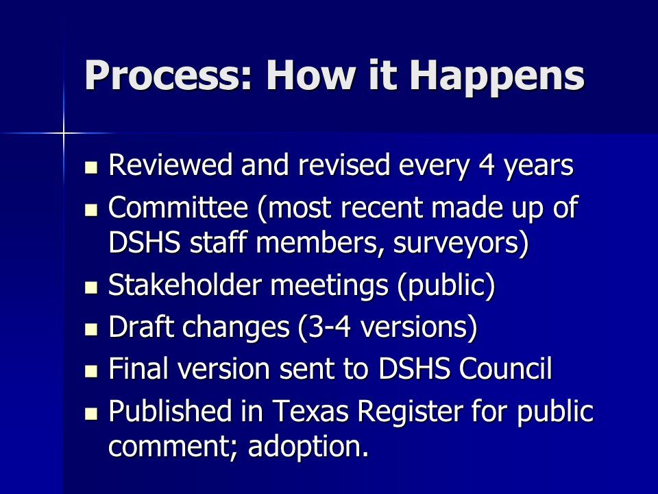 Process: How it Happens Reviewed and revised every 4 years Reviewed and revised every 4 years Committee (most recent made up of DSHS staff members, su