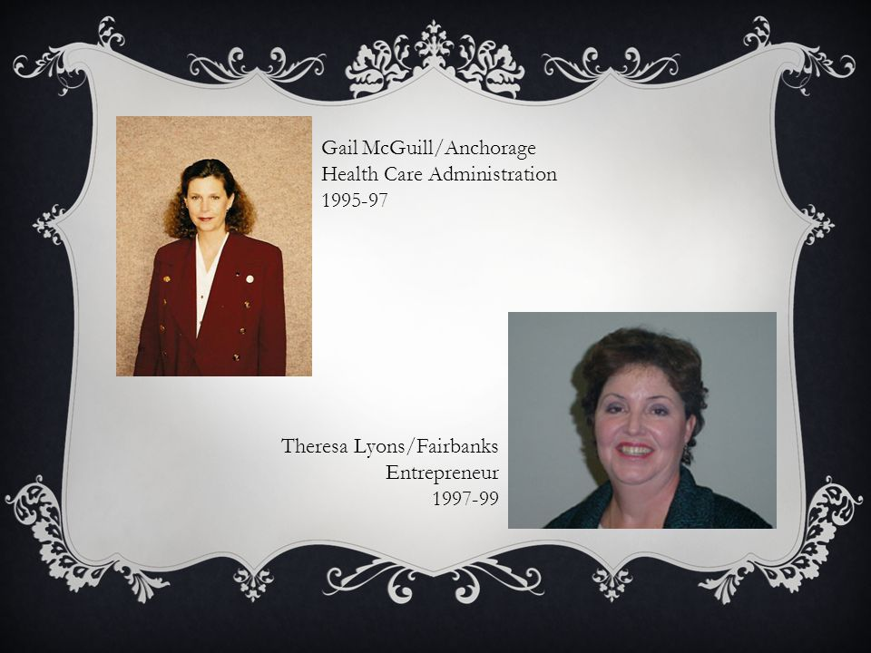 Gail McGuill/Anchorage Health Care Administration 1995-97 Theresa Lyons/Fairbanks Entrepreneur 1997-99