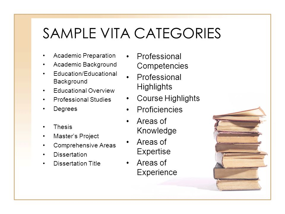 SAMPLE VITA CATEGORIES Academic Preparation Academic Background Education/Educational Background Educational Overview Professional Studies Degrees Thesis Master's Project Comprehensive Areas Dissertation Dissertation Title Professional Competencies Professional Highlights Course Highlights Proficiencies Areas of Knowledge Areas of Expertise Areas of Experience