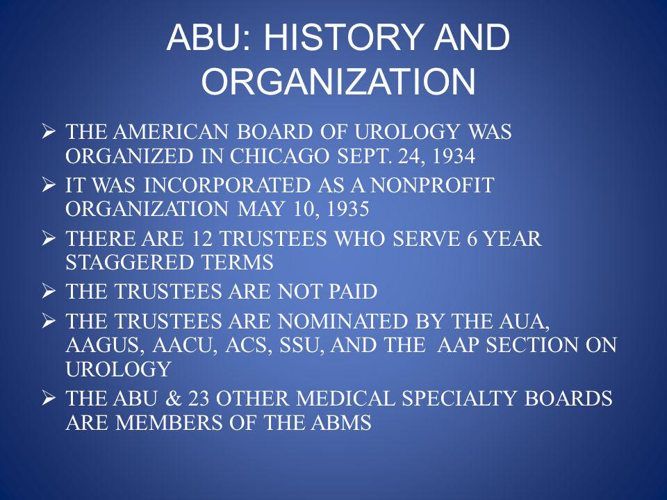 American Board of Urology Trustees 2008-2009  President: W.