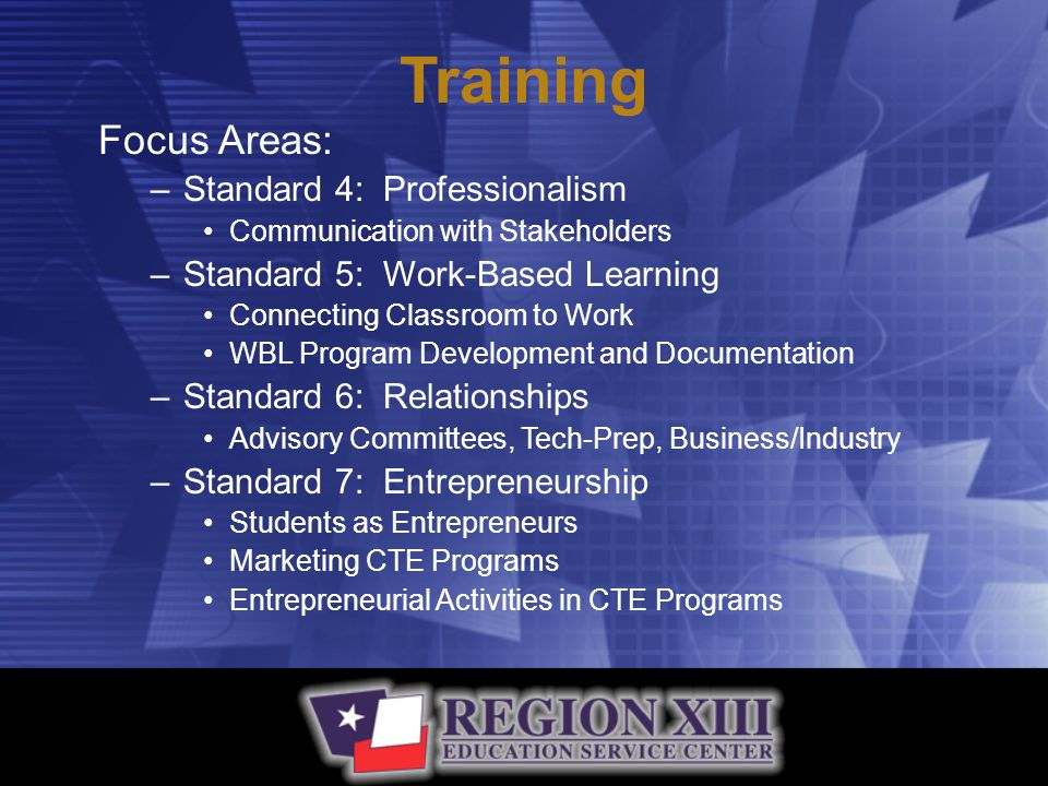 Training Focus Areas: –Standard 4: Professionalism Communication with Stakeholders –Standard 5: Work-Based Learning Connecting Classroom to Work WBL Program Development and Documentation –Standard 6: Relationships Advisory Committees, Tech-Prep, Business/Industry –Standard 7: Entrepreneurship Students as Entrepreneurs Marketing CTE Programs Entrepreneurial Activities in CTE Programs