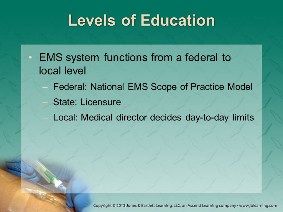 Levels of Education EMS system functions from a federal to local level –Federal: National EMS Scope of Practice Model –State: Licensure –Local: Medica