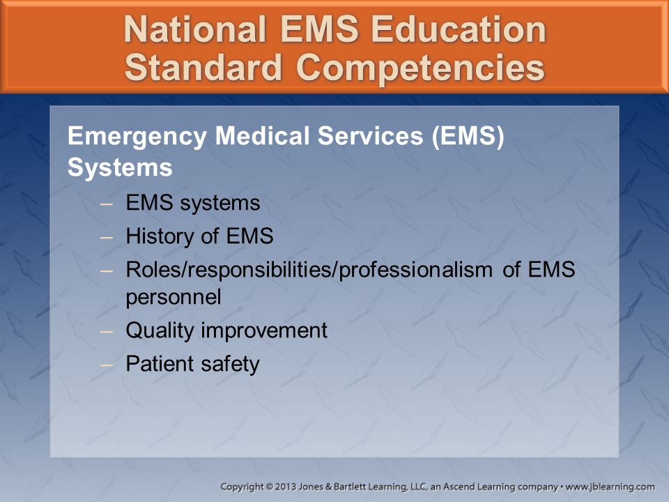 Emergency Medical Services (EMS) Systems –EMS systems –History of EMS –Roles/responsibilities/professionalism of EMS personnel –Quality improvement –P
