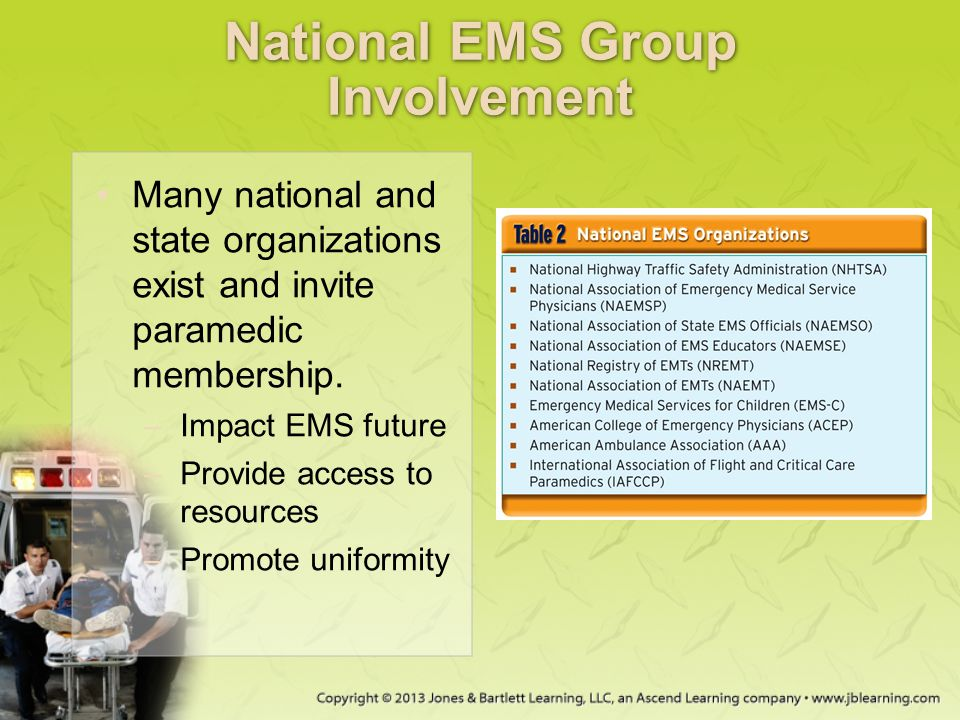 National EMS Group Involvement Many national and state organizations exist and invite paramedic membership. –Impact EMS future –Provide access to reso