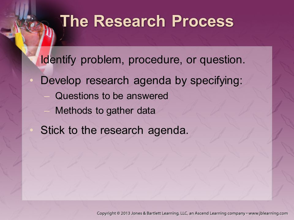 The Research Process Identify problem, procedure, or question. Develop research agenda by specifying: –Questions to be answered –Methods to gather dat