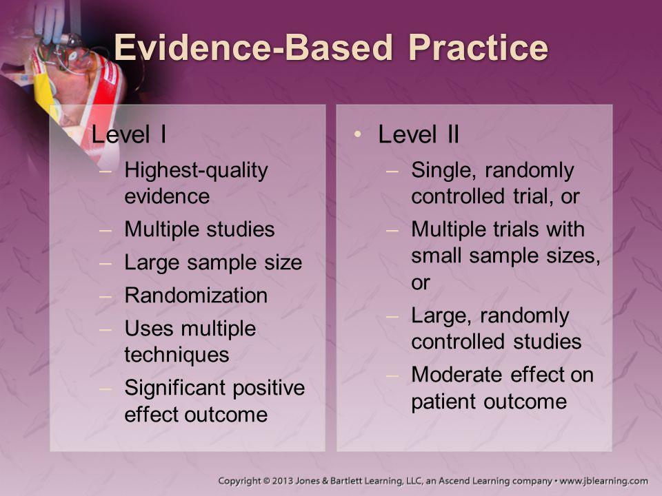 Evidence-Based Practice Level I –Highest-quality evidence –Multiple studies –Large sample size –Randomization –Uses multiple techniques –Significant p