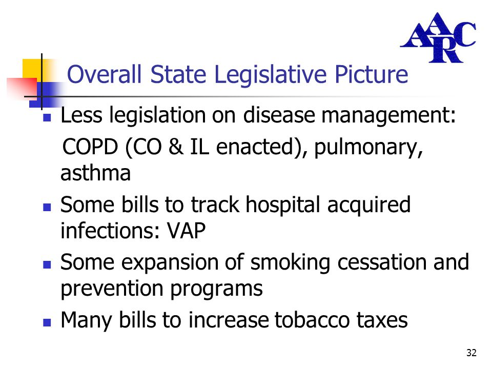 32 Overall State Legislative Picture Less legislation on disease management: COPD (CO & IL enacted), pulmonary, asthma Some bills to track hospital ac