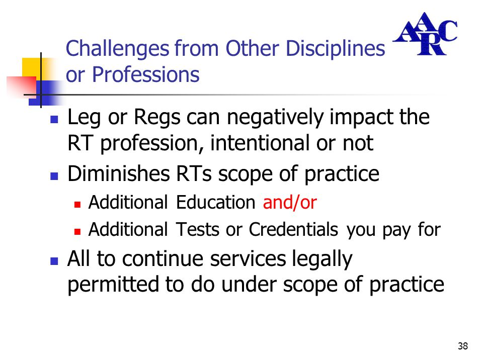 38 Challenges from Other Disciplines or Professions Leg or Regs can negatively impact the RT profession, intentional or not Diminishes RTs scope of pr