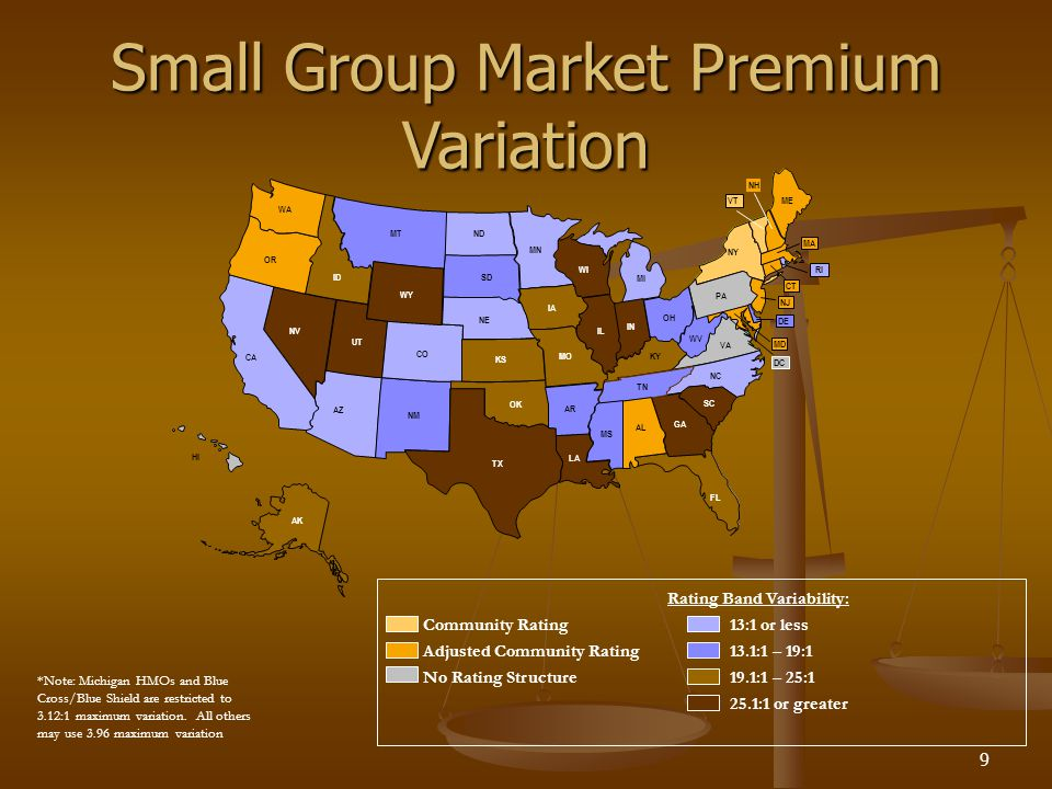 9 ME NY PA NH CT VT MA NJ VA NC SC GA FL WV KY TN AL MS MI WI MN IA HI AK KS NE ND SD MO IL IN TX MT ID NV UT WY CO NM AZ CA OR WA LA AR OK OH MD DE RI Community Rating 25.1:1 or greater Small Group Market Premium Variation DC Adjusted Community Rating Rating Band Variability: No Rating Structure19.1:1 – 25:1 13.1:1 – 19:1 13:1 or less *Note: Michigan HMOs and Blue Cross/Blue Shield are restricted to 3.12:1 maximum variation.