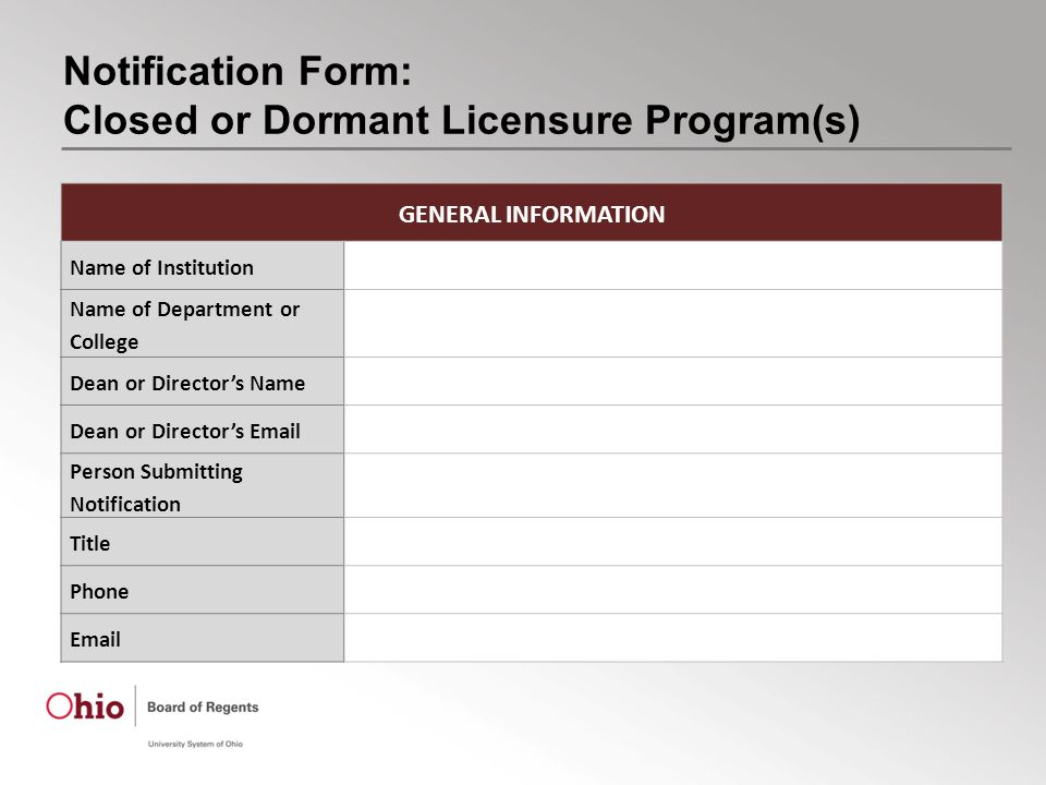 Notification Form: Closed or Dormant Licensure Program(s) GENERAL INFORMATION Name of Institution Name of Department or College Dean or Director's Name Dean or Director's Email Person Submitting Notification Title Phone Email
