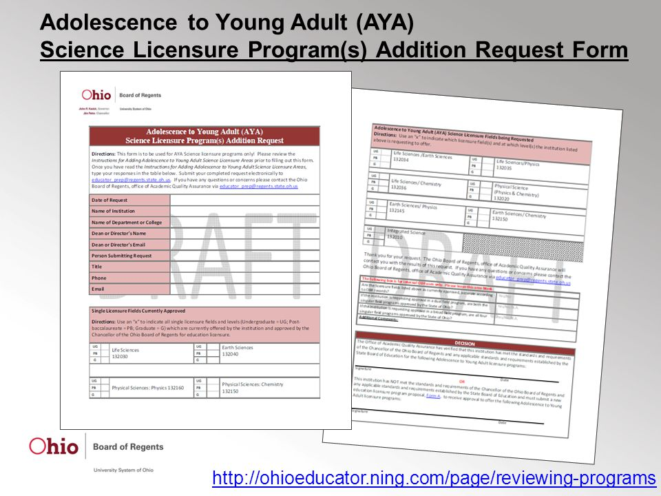 Adolescence to Young Adult (AYA) Science Licensure Program(s) Addition Request Form http://ohioeducator.ning.com/page/reviewing-programs