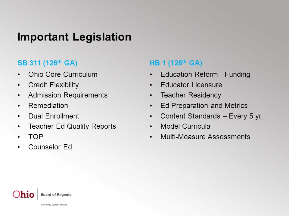 Important Legislation SB 311 (126 th GA) Ohio Core Curriculum Credit Flexibility Admission Requirements Remediation Dual Enrollment Teacher Ed Quality Reports TQP Counselor Ed HB 1 (128 th GA) Education Reform - Funding Educator Licensure Teacher Residency Ed Preparation and Metrics Content Standards – Every 5 yr.