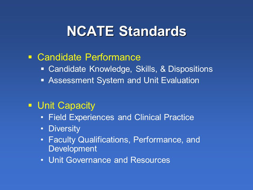 NCATE Standards  Candidate Performance  Candidate Knowledge, Skills, & Dispositions  Assessment System and Unit Evaluation  Unit Capacity Field Experiences and Clinical Practice Diversity Faculty Qualifications, Performance, and Development Unit Governance and Resources