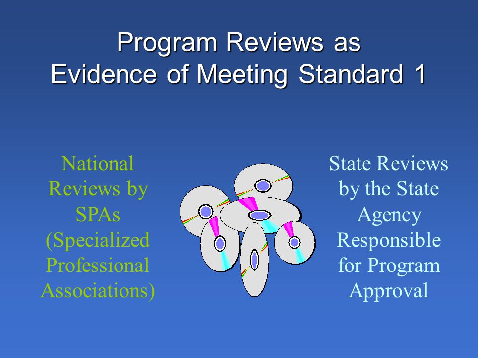 Program Reviews as Evidence of Meeting Standard 1 National Reviews by SPAs (Specialized Professional Associations) State Reviews by the State Agency R