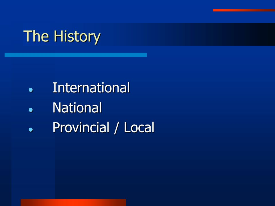 The History International International National National Provincial / Local Provincial / Local