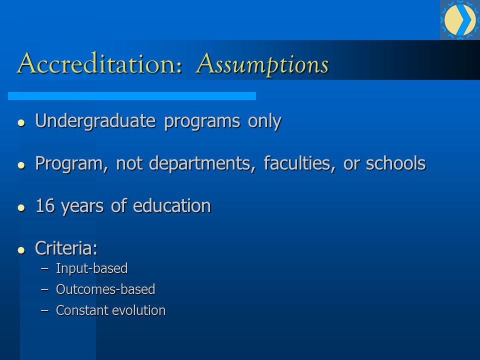 Accreditation: Assumptions Undergraduate programs only Undergraduate programs only Program, not departments, faculties, or schools Program, not departments, faculties, or schools 16 years of education 16 years of education Criteria: Criteria: –Input-based –Outcomes-based –Constant evolution
